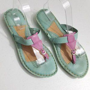Born leather sandals flip flops teal purple sz 10